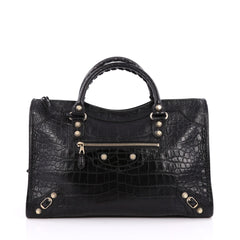 Balenciaga City Giant Studs Handbag Crocodile Embossed Leather Medium Black 2038201