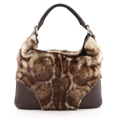 Gucci Signoria Hobo Fur with Leather Large Brown 2038402