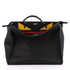 Fendi Selleria Peekaboo Monster Handbag Leather XL Black 2039001