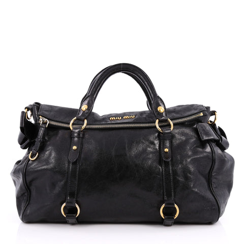 a2d843477f54 Buy Miu Miu Bow Satchel Vitello Lux Medium Black 2039701 – Rebag