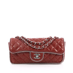 Chanel Classic Single Flap Chain Around Bag Quilted Lambskin East West Red