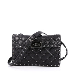 Valentino Rockstud Spike Flap Shoulder Bag Quilted Leather Small Black 2042402