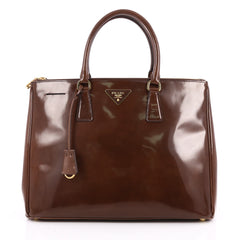 Prada Double Zip Lux Tote Spazzolato Leather Large Brown 2045001