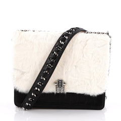 Roberto Cavalli Hera Handbag Crocodile Embossed Leather and Fur Small White 2045201