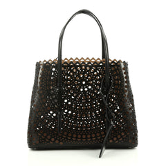 Alaia Open Tote Laser Cut Leather Medium Black 2045501