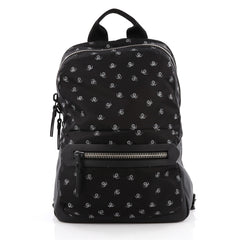 Lanvin Backpack Printed Nylon with Leather Black 2046701