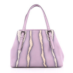 Bottega Veneta A-Shape Glimmer Tote Washed Nappa Leather with Intrecciato Detail Medium Purple 2049102