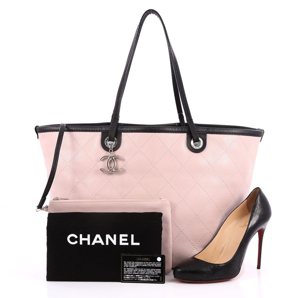 dc53b50dd317 Buy Chanel Fever Tote Quilted Caviar Large Pink 2050301 – Rebag
