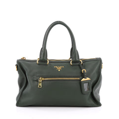 Prada Front Zip Convertible Satchel Vitello Daino Medium Green 2050704