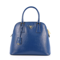 Prada Zip Around Convertible Dome Satchel Vernice Saffiano Leather North South Blue 2051603