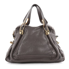 Chloe Paraty Top Handle Bag Leather Medium Gray 2057601