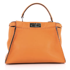 Fendi Selleria Peekaboo Handbag Leather Regular Orange 2058501