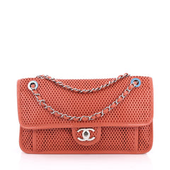 Chanel Up In The Air Flap Bag Perforated Leather Medium Pink