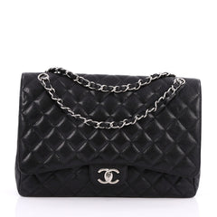 Chanel Classic Double Flap Bag Quilted Caviar Maxi Black 2061301