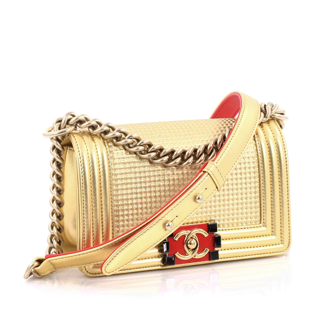 d533e5244a4b Buy Chanel Boy Flap Bag Cube Embossed Lambskin Small Gold 2061601 ...