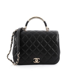 Chanel Carry Chic Flap Bag Quilted Lambskin Medium Black 2061701