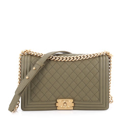 Chanel Boy Flap Bag Quilted Caviar New Medium Green 2061705