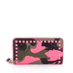 Valentino Rockstud Zip Around Wallet Camo Leather and 2062001