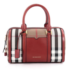 Burberry Alchester Convertible Satchel House Check and Leather Medium Red