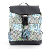 Gucci Buckle Backpack Blooms Print GG Coated Canvas Gray 2064101