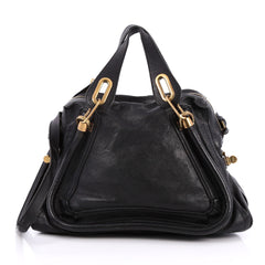 Chloe Paraty Top Handle Bag Leather Medium Black 2065301