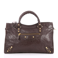 Balenciaga City Giant Studs Handbag Leather Medium Brown 2065701