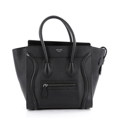 Celine Luggage Handbag Grainy Leather Micro Black 2080901