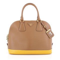 Prada Bicolor Promenade Handbag Saffiano Leather Medium Brown 2081001