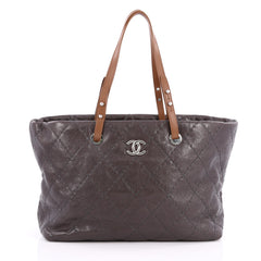 Chanel On The Road Tote Quilted Leather Small Gray