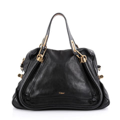 Chloe Paraty Top Handle Bag Leather Medium Black 2083202