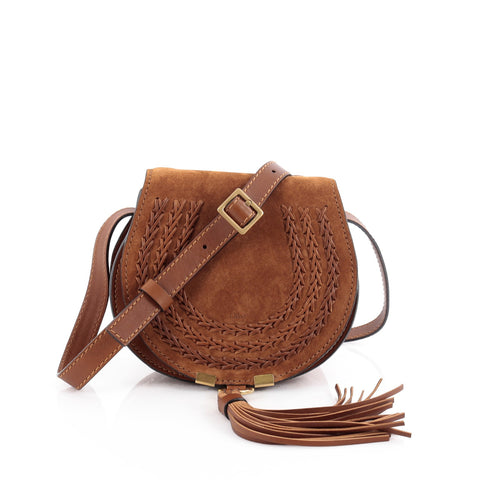 385e76ec6f Buy Chloe Marcie Crossbody Bag Whipstitch Suede Mini Brown 2085601 – Rebag