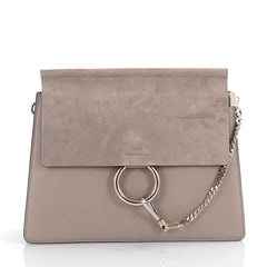 Chloe Faye Shoulder Bag Leather and Suede Medium Neutral 2087001
