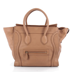 Celine Luggage Handbag Grainy Leather Mini Brown 2087303