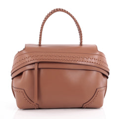 Tod's Convertible Wave Bag Stitched Leather Small Brown 2087801