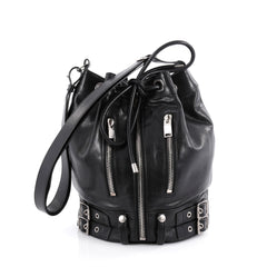 Saint Laurent Rider Bucket Bag Leather Medium Black 2088501