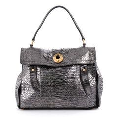 Saint Laurent Muse Two Handbag Python Medium Silver 2089002