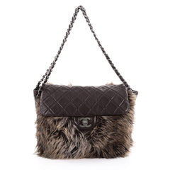 Chanel Flap Shoulder Bag Fur and Quilted Lambskin Medium Brown