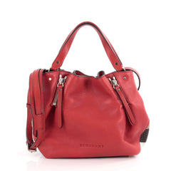 Burberry Maidstone Convertible Satchel Leather and House Check Canvas Small Red 2092401