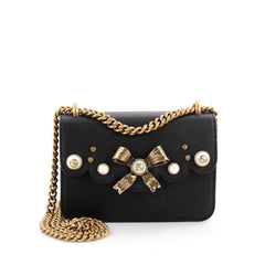 Gucci Pearly Peony Chain Shoulder Bag Leather Small Black 2093907