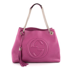 Gucci Soho Shoulder Bag Chain Strap Leather Medium Purple 2094001