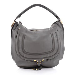 Chloe Marcie Hobo Leather Large Gray 2095302