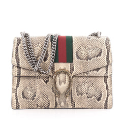 Gucci Web Dionysus Handbag Python Medium Neutral 2096001