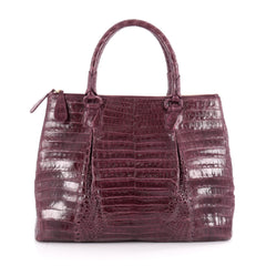 Nancy Gonzalez Double Zip Convertible Tote Crocodile Large Purple 2097802