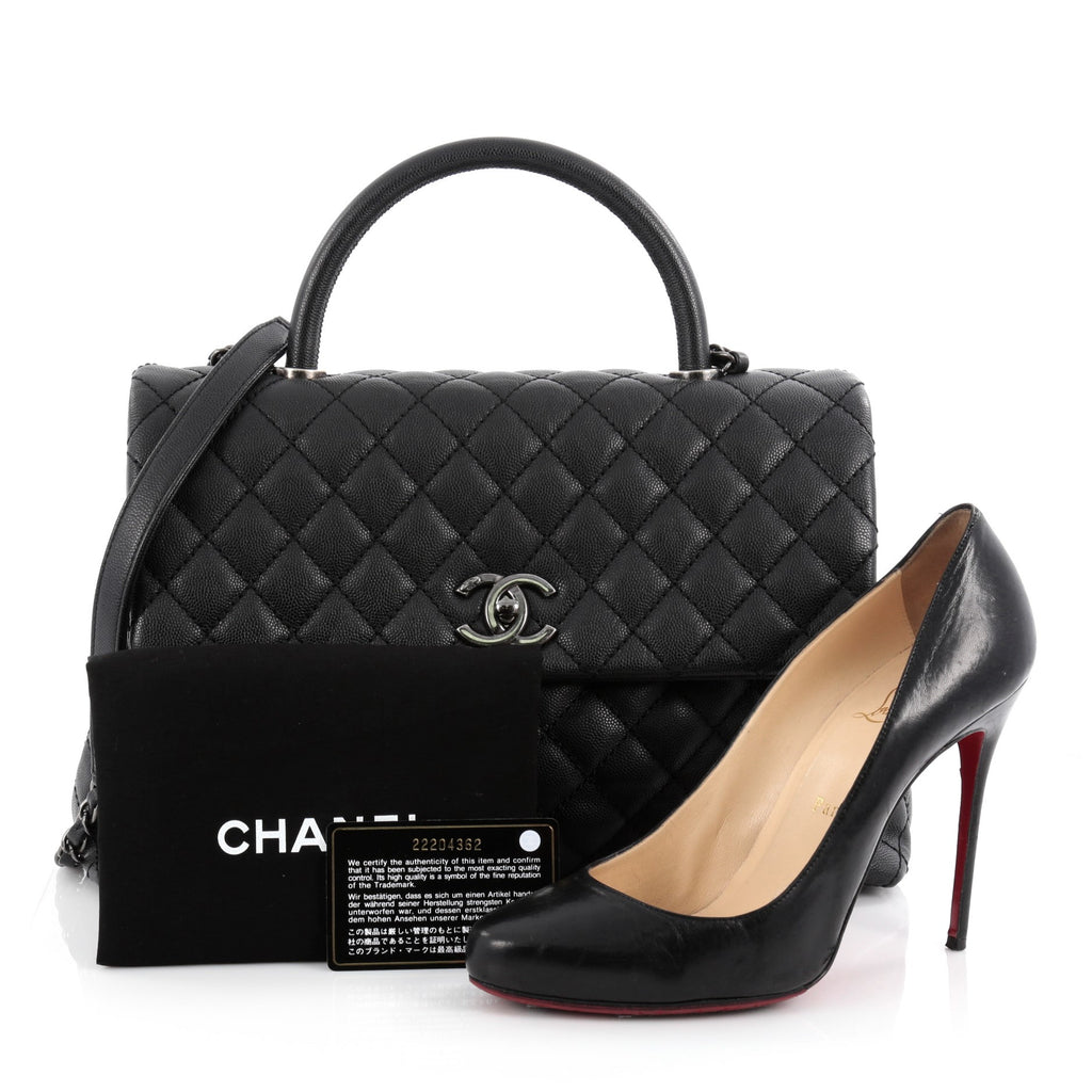 8f1d87e11bac Buy Chanel Coco Top Handle Bag Quilted Caviar Medium Black 2100701 ...