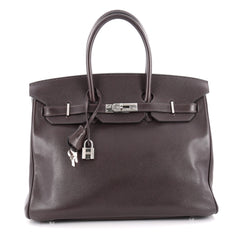 Hermes Birkin Handbag Brown Evergrain with Palladium 2100801