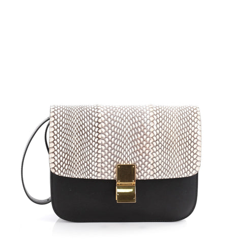 Buy Celine Box Bag Leather and Snakeskin Medium Black 2101101 – Rebag 149e90a2602eb