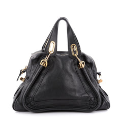 Chloe Paraty Top Handle Bag Leather Medium Black 2102301