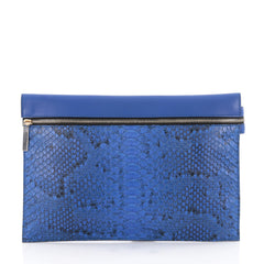 Victoria Beckham Envelope Clutch Python and Leather Blue