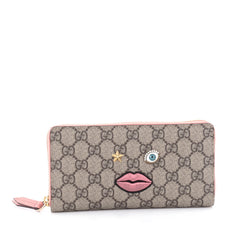 Gucci Zip Around Wallet GG Coated Canvas with Face Applique Brown