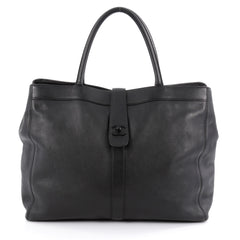 Chanel Vintage CC Turnlock Tote Leather Large Black